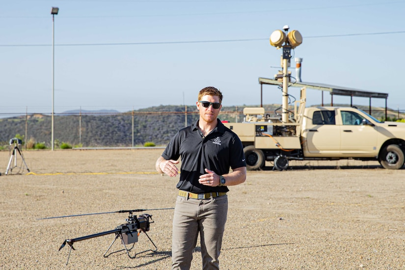 A man operates a drone.
