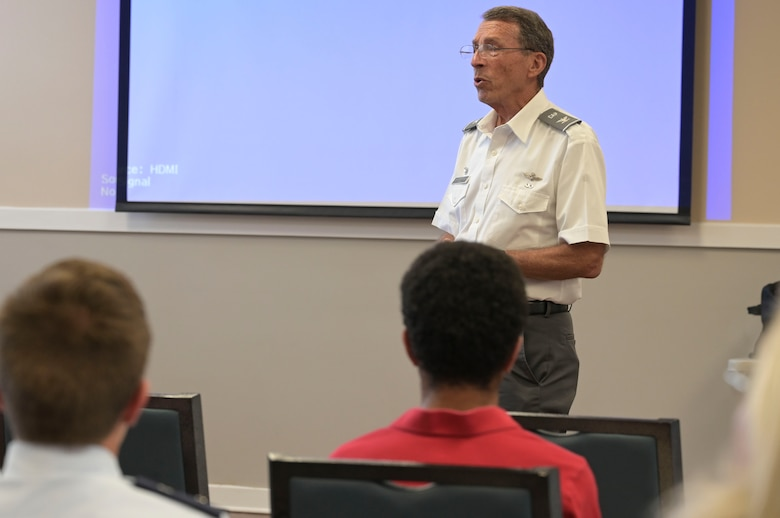 U.S. Air Force Col. Robert Mims, retired, Mississippi Civil Air Patrol Wing commander, speaks to the CAP Golden Triangle Regional Squadron about his plans for the organization, June 3, 2021, on Columbus Air Force Base, Miss. Civil Air Patrol, as the official Auxiliary of the United States Air Force, and, as a humanitarian, non-profit organization, has garnered the support and commitment of its 61,000+ volunteer members nationwide. (U.S. Air Force photo by Airman 1st Class Jessica Haynie)