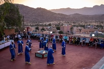 Utah Air National Guard doctors, dentists, and other healthcare professionals of the 151st Expeditionary Medical Group were welcomed to Morocco with live traditional Berber folk music and a dance performance by the Tafraoute citizens, June 6, 2021.