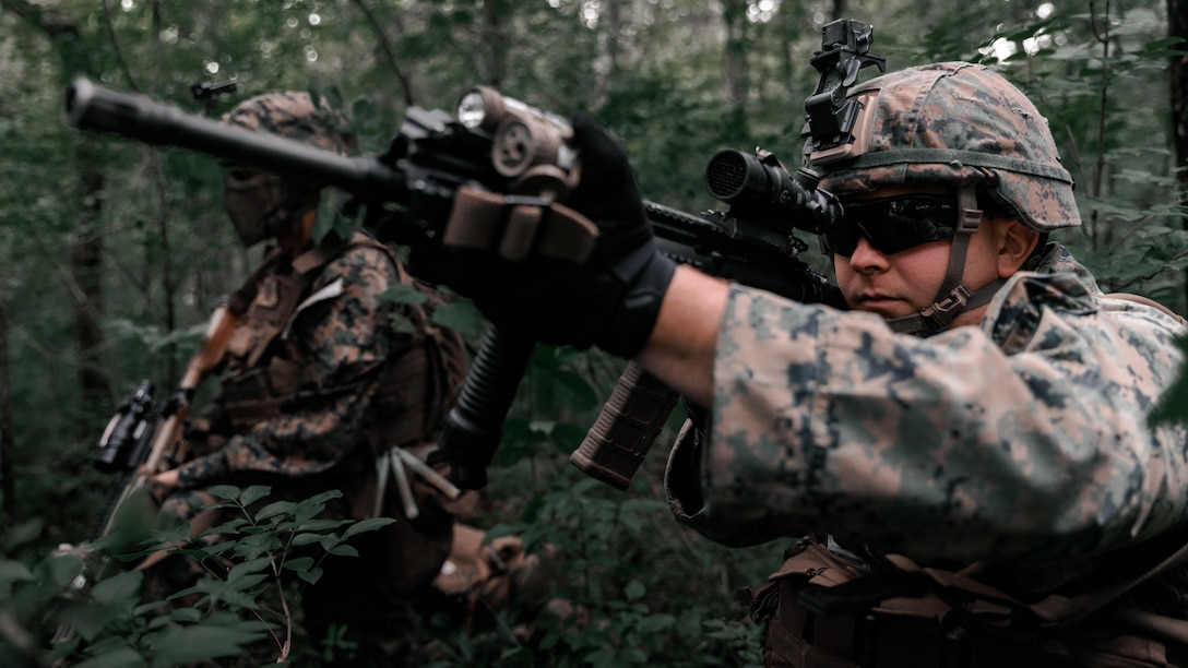 U.S. Marines observe an objective point during Exercise Raven in Nashville, Tenn., May 29.