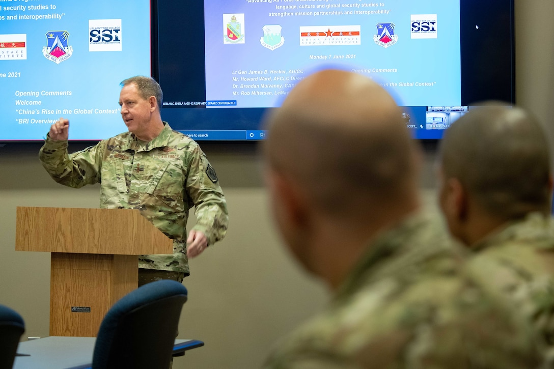 Lieutenant Gen. James Hecker, Air University commander and president, opens the inaugural China 'Belt and Road Initiative' training event, June 7, 2021, at the AU Teaching and Learning Center, Maxwell Air Force Base, Alabama.