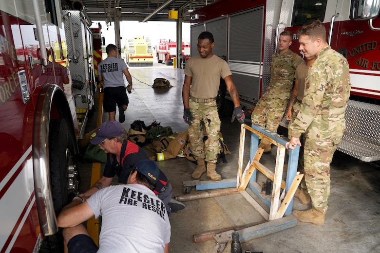 81st Civil Engineering Squadron Fire Department members prepare their equipment at the fire station at Keesler Air Force Base, Mississippi, June 2, 2021. The Keesler Fire Department responds to medical emergencies on and around base 24 hours a day. (U.S. Air Force photo by Senior Airman Seth Haddix)