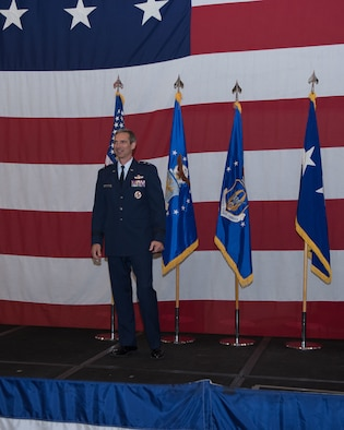 Maj. Gen. Bryan Radliff addressed the crowd for the first time as the Commander, Tenth Air Force.