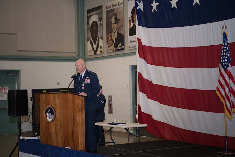 Maj Gen Brian Borgen addresses the audience for the final time as the Commander, Tenth Air Force.