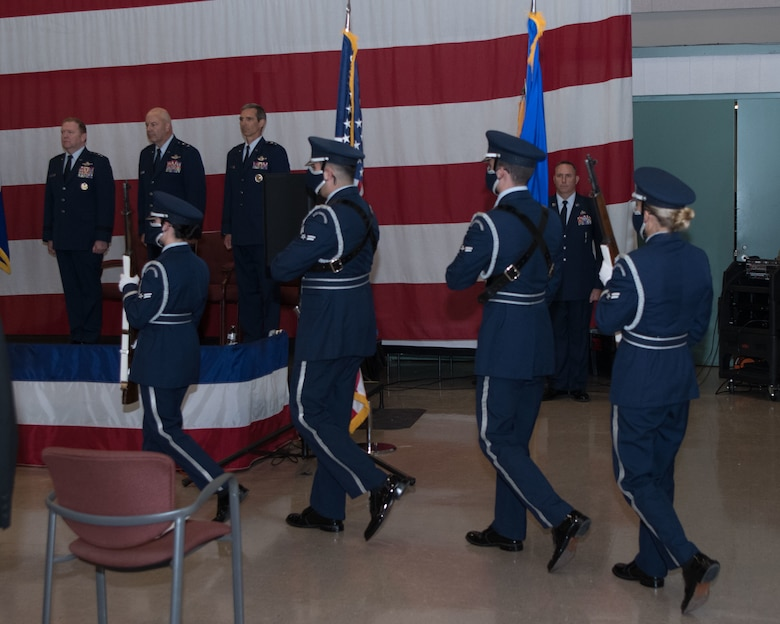 The Dyess Air Force Base Honor Guard presents the Colors at the Tenth Air Force Change of Command June 4, 2021.