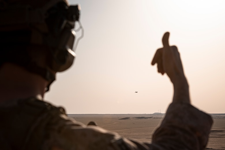 A photo of a Marine giving a thumbs up