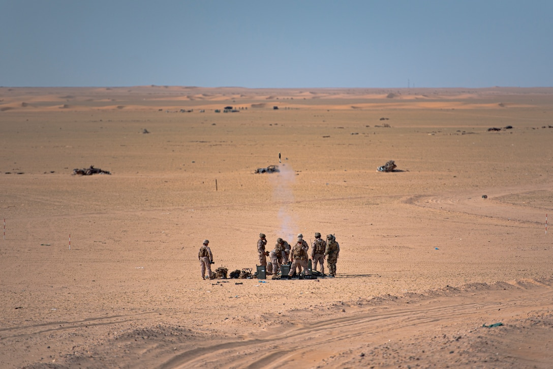 A photo of Soldiers launching mortars