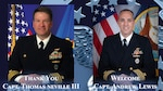 Navy Capt. Thomas Neville III relinquishes command of Defense Logistics Agency Distribution Norfolk, Virginia, to Navy Capt. Andrew Lewis at a ceremony on June 11, 2021. Neville was at the helm of DDNV through the entire COVID-19 pandemic and the support operations out of DDNV.