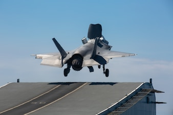 A U.S. Marine Corps F-35B Lightning II launches from the Royal Navy aircraft carrier HMS Queen Elizabeth (R08) during Falcon Strike 21 in the Mediterranean Sea.