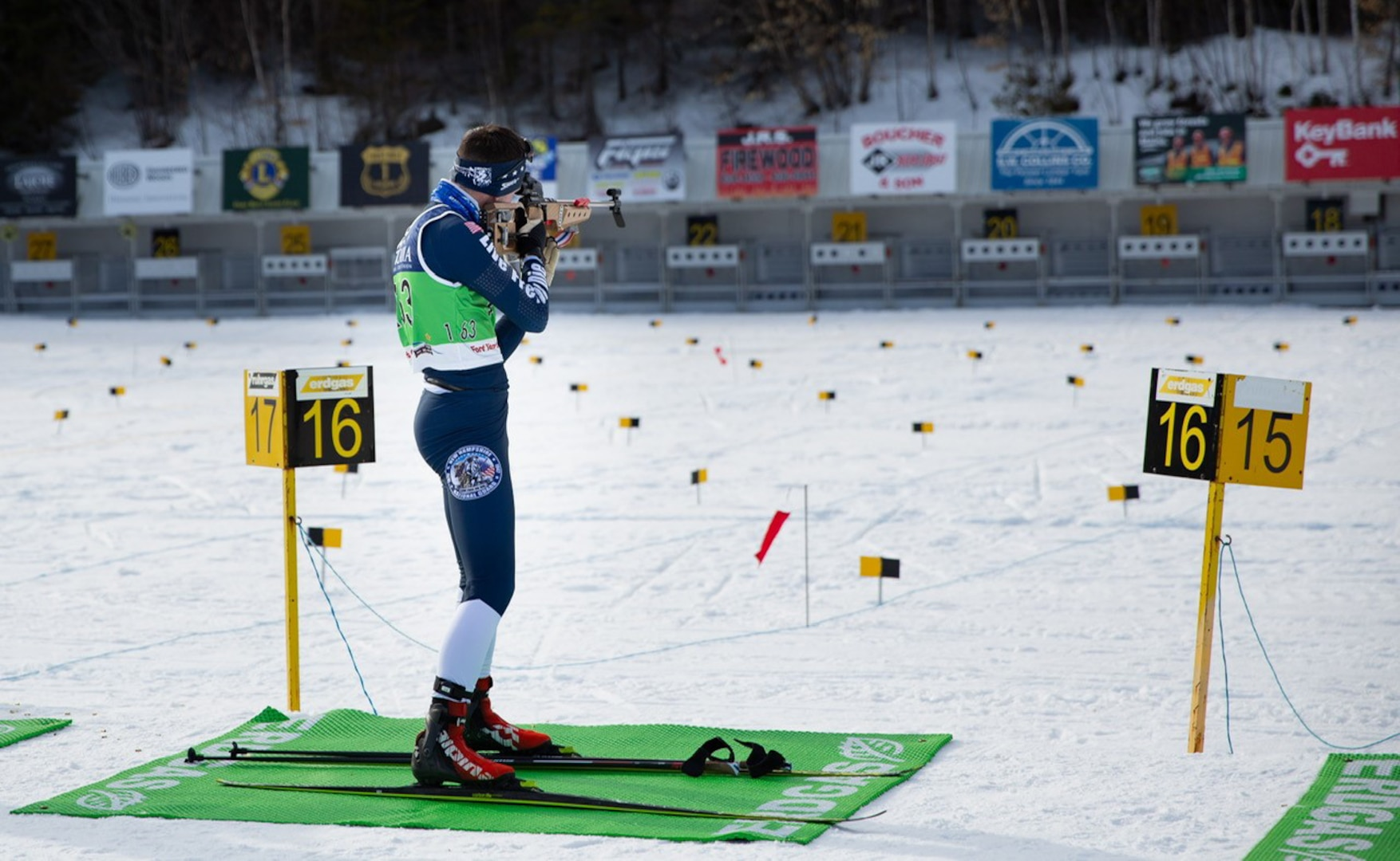 New Hampshire National Guard Spc. Thomas Echelberger shoots at the Biathlon Spring Fling on March 3, 2021, at Fort Kent, Maine. Echelberger placed sixth out of 35 competitors.