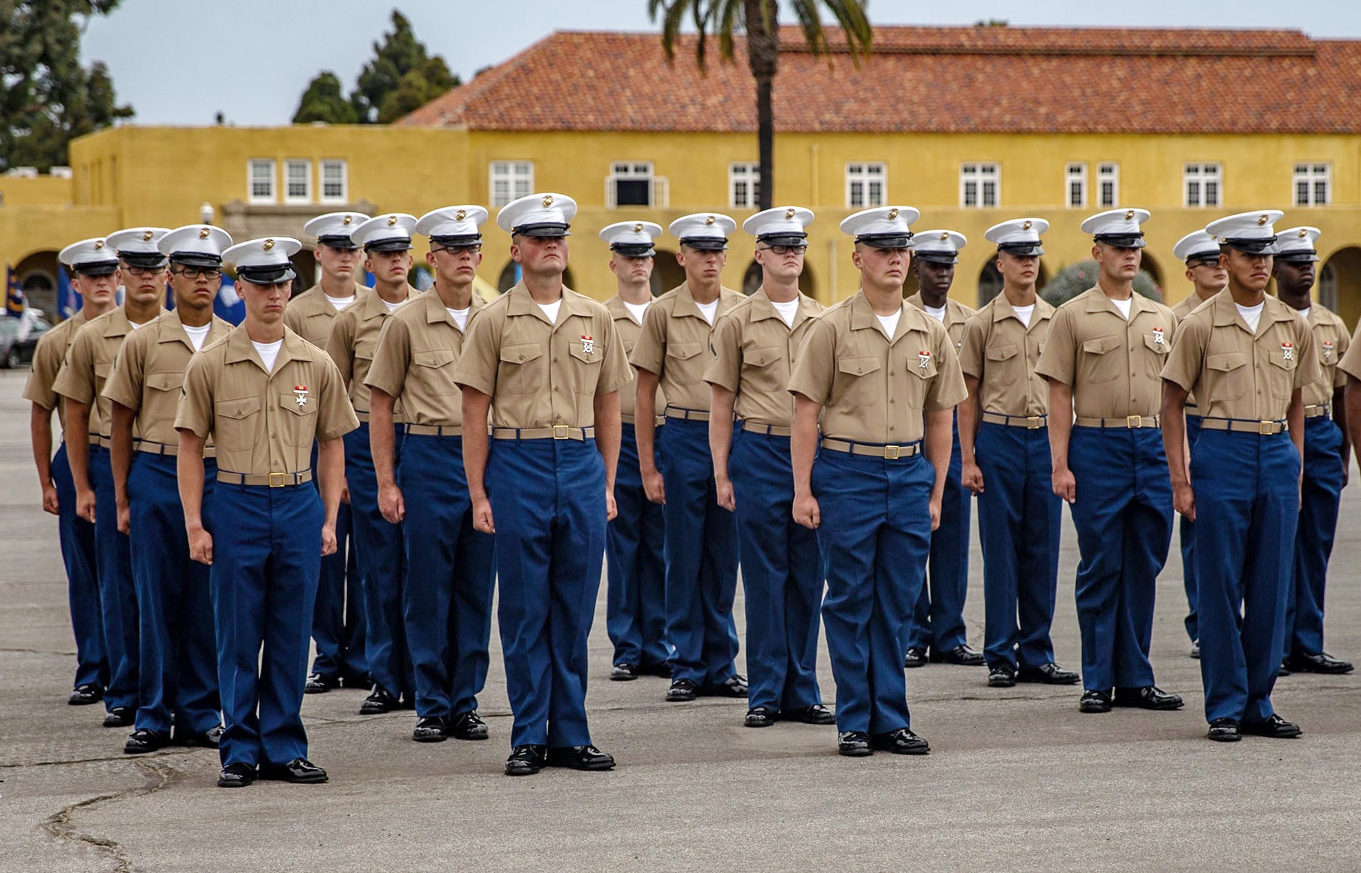 New Marines of India Company, 3rd Recruit Training Battalion, participate in a graduation ceremony at Marine Corps Recruit Depot, San Diego, June 3, 2021.