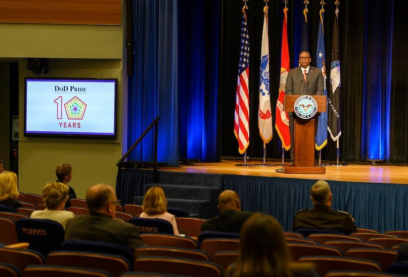 Secretary of Defense Lloyd J. Austin III delivers remarks.