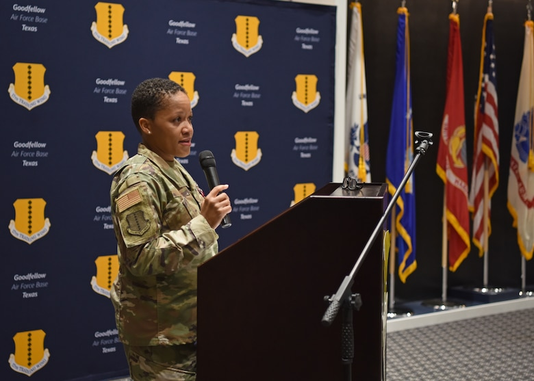 U.S. Air Force Col. Lauren Byrd, 17th Medical Group outgoing commander, offers remarks during the change of command ceremony at the Event Center on Goodfellow Air Force Base, Texas, June 8, 2021. Byrd thanked her family, leadership, and friends for their constant support during her time as commander. (U.S. Air Force photo by Senior Airman Abbey Rieves)