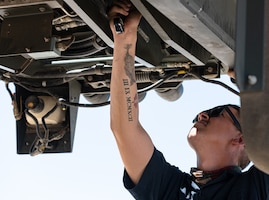 Staff Sgt. Daniel Ward, 56th Logistics Readiness Squadron vehicle management technician, works at the 56th LRS Rapid Maintenance Annex May 17, 2021, at Luke Air Force Base, Arizona.