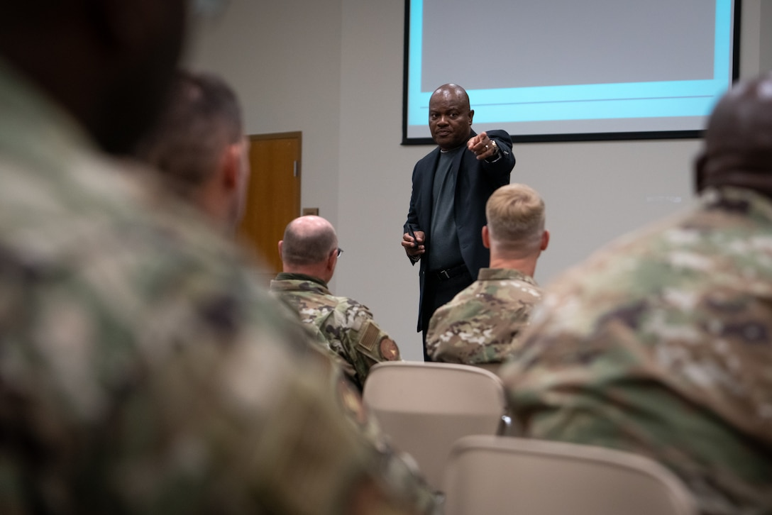 G. Lee Floyd, Air Force Reserve Command's Chief Diversity and Inclusion Officer, speaks to members of the 403rd Wing during a Cross-Cultural Diversity and Inclusion training at Keesler Air Force Base, Miss., June 6, 2021. The training is mandatory for all Air and Space Force individuals. (U.S. Air Force photo by Staff Sgt. Shelton Sherrill)