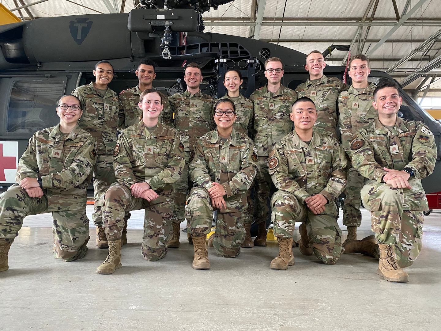 Cadets from the U.S. Air Force Academy pose in front of a UH-60 Blackhawk helicopter at Martindale Army Airfield, San Antonio, Texas, May 28, 2021.
