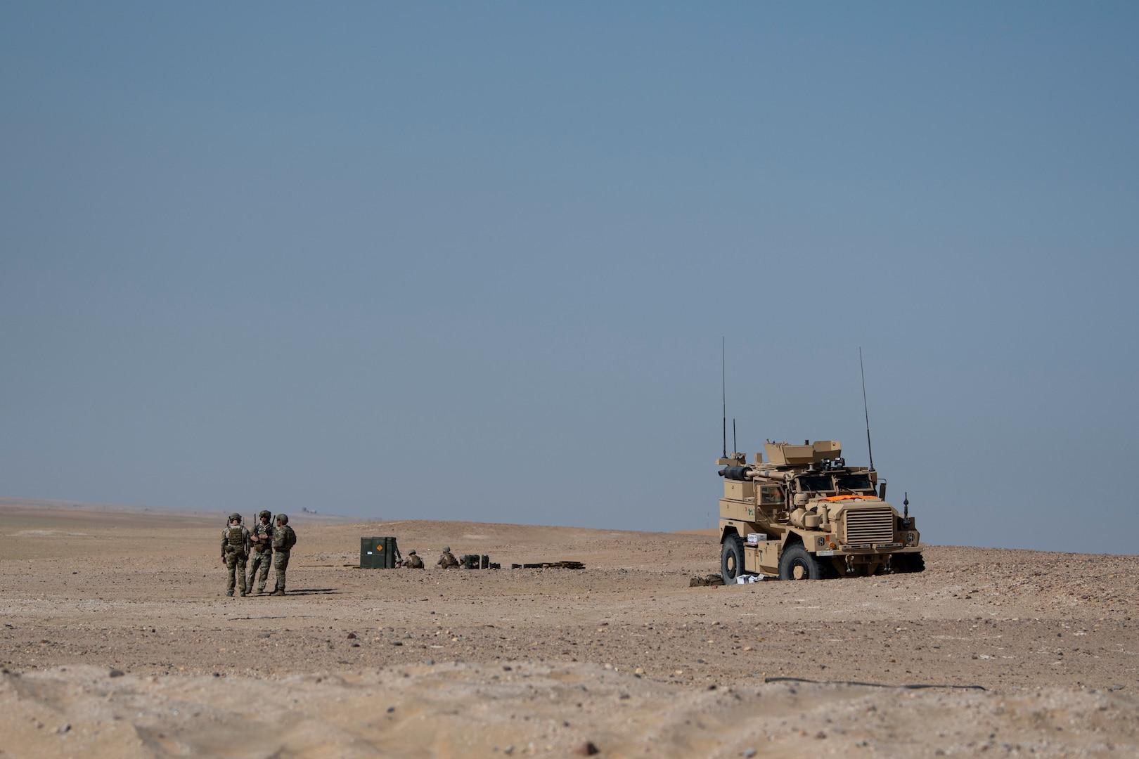 A photo of U.S. service members walking