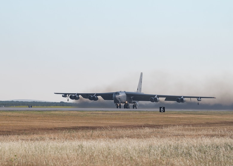 A B-52H Stratofortress, assigned to the 2nd Bomb Wing, Barksdale Air Force Base, Louisiana, takes off out of Morón Air Base, Spain to fly over the continent of Africa in support of Bomber Task Force Europe June 9, 2021.