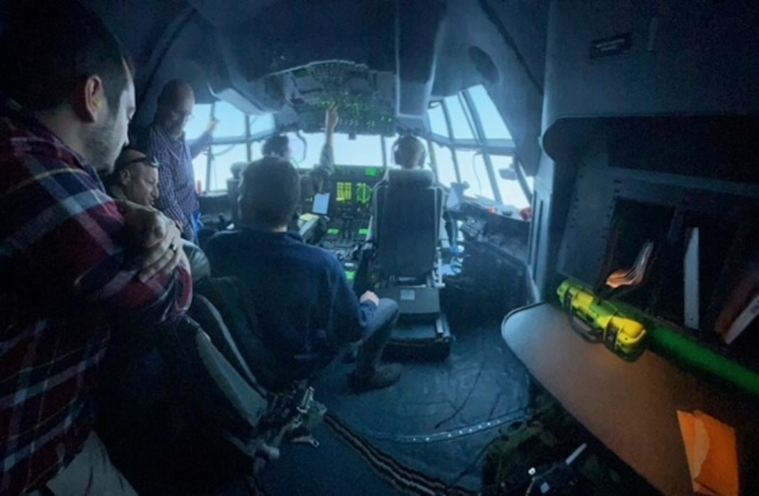 Civilians assigned to the U.S. Air Forces in Europe and Air Forces Africa headquarters ride along in a C-130J Super Hercules aircraft assigned to the 37th Airlift Squadron, 86th Airlift Wing, Ramstein Air Base, Germany, April 21, 2021.