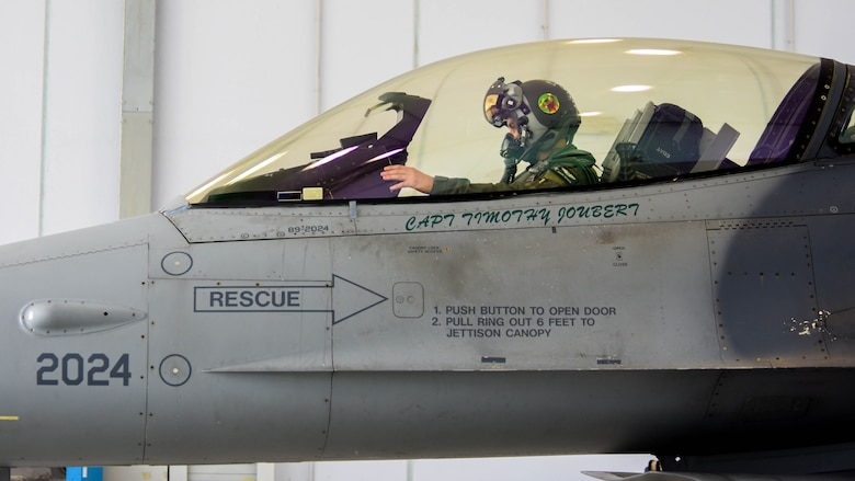 A U.S. Air Force F-16 Fighting Falcon pilot assigned to the 555th Fighter Squadron prepares to participate in exercise Falcon Strike 21 (FS21) at Amendola Air Base, Italy, June 7, 2021. Aircraft participating in FS21 include the U.S. Air Force F-35 Lightning II and F-16 aircraft and U.S. Marine Corps, Royal air force, Italian air force, and Israeli air force F-35B aircraft. (U.S. Air Force photo by Airman 1st Class Brooke Moeder)