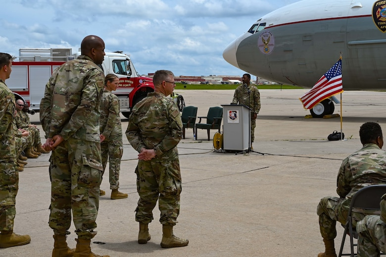 Lt. Col. Dustin Born, 507th Civil Engineer Squadron former commander, relinquishes command to Lt. Col. Stan Young, 507th Mission Support Group commander, during an outdoor change of command ceremony on the flightline June 6, 2021, at Tinker Air Force Base, Oklahoma. (U.S. Air Force photo by Senior Airman Mary Begy)