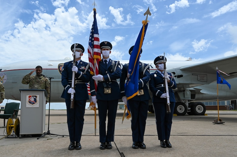 Tinker Air Force Base honor guard presents the colors during an outdoor change of command ceremony on the flightline June 6, 2021, at Tinker AFB, Oklahoma. (U.S. Air Force photo by Senior Airman Mary Begy)
