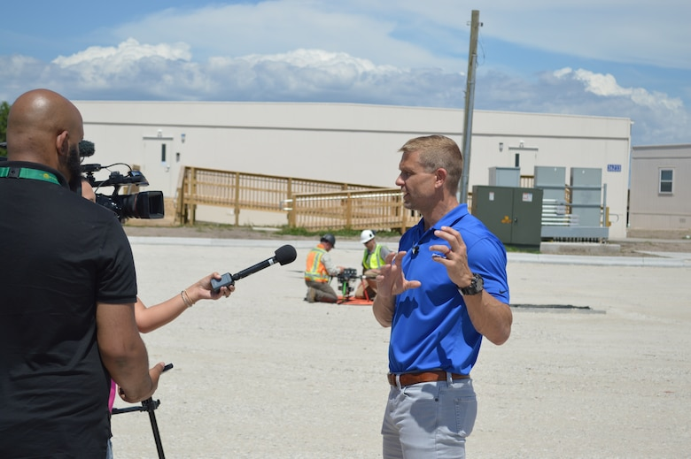 Tyndall Program Management Office integration chief, Lowell Usrey, talks to local media after a drone flight at Tyndall Air Force Base, Florida, June 4, 2021. The drone captured data for a Digital Twin replica of the installation. (U.S. Air Force photo by Sarah McNair)