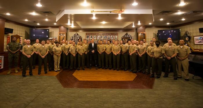 Rob Jones, Afghanistan veteran and motivational speaker, speaks to Marine Barracks Washington personnel during a seminar at MBW, June 09, 2021.