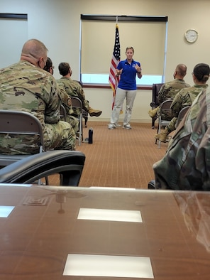 Staff Sgt. Jessica Thelen, AFW2 Ambassador, shares her story of trauma and resiliency with the 7th Bomb Wing Medical Group, Tuesday, June 8, 2021 at Dyess Air Force Base, Texas. The AFW2 Ambassador Program has been on the road this year conducting outreach briefings at multiple bases to inform the Air Force population about the AFW2 program, how it supports Airmen and how leaders can support their Airmen who have been injured, wounded or diagnosed with an illness. (Photo by Shannon Hall)