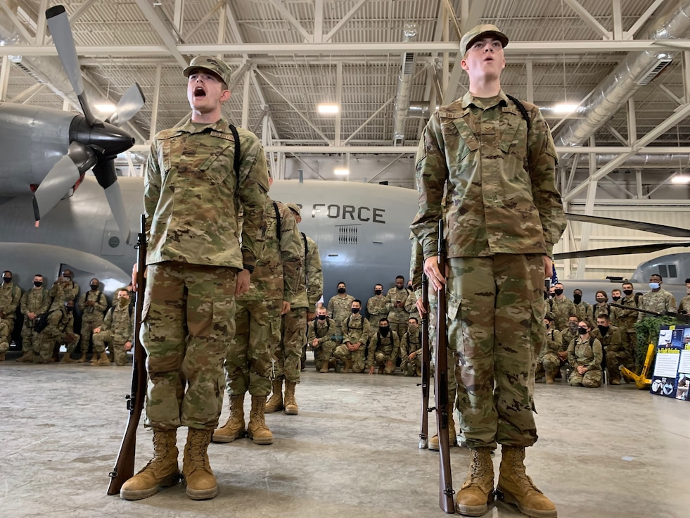 Airmen in drill formation.