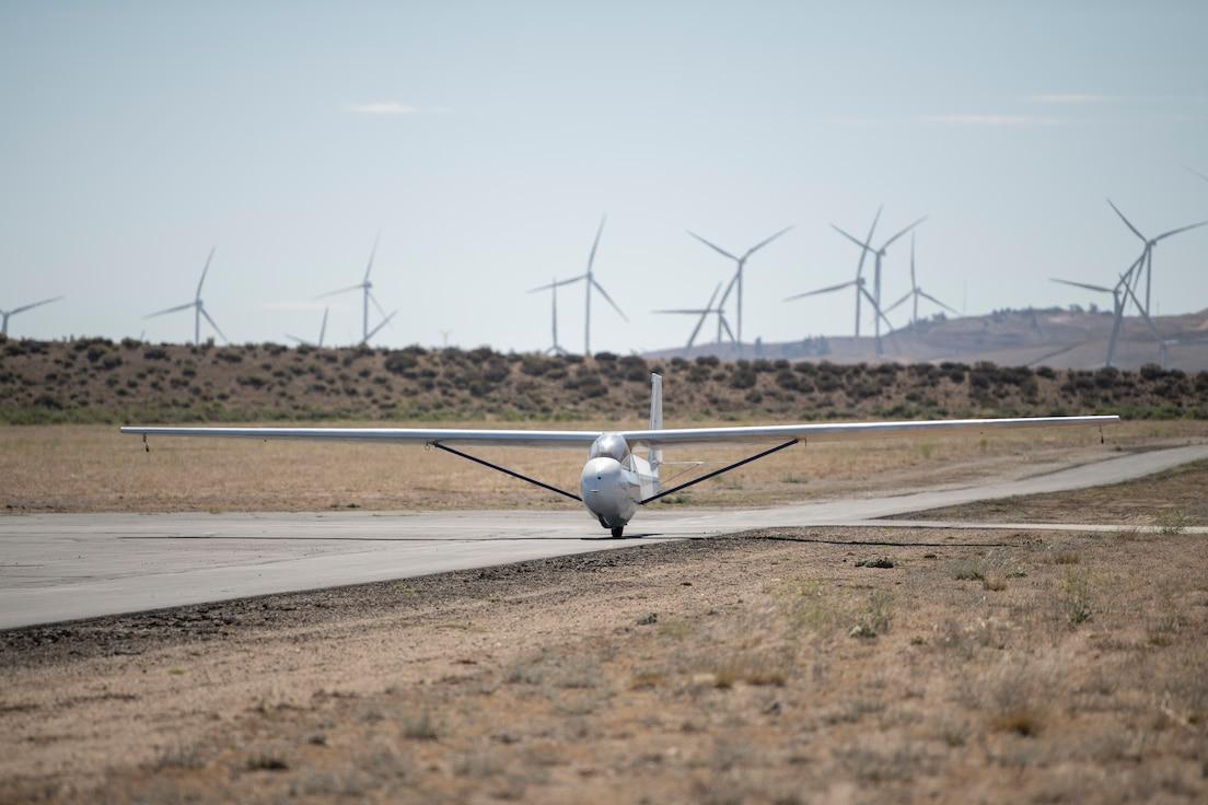Glider landing at airport