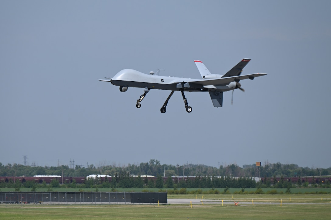 An MQ-9 aircraft launches for flight during Exercise Victory Hooligan at the North Dakota Air National Guard Base, Fargo, N.D., June 9, 2021. (U.S. Air National Guard photo by Chief Master Sgt. David H Lipp)