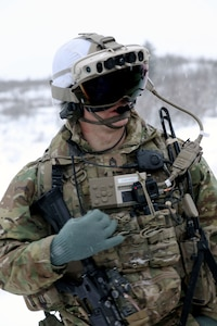 Soldier from 4th Brigade Combat Team, 25th Infantry Division test IVAS Capability Set 4 in extreme temperatures at the Cold Region Test Center, Alaska in March 2021.