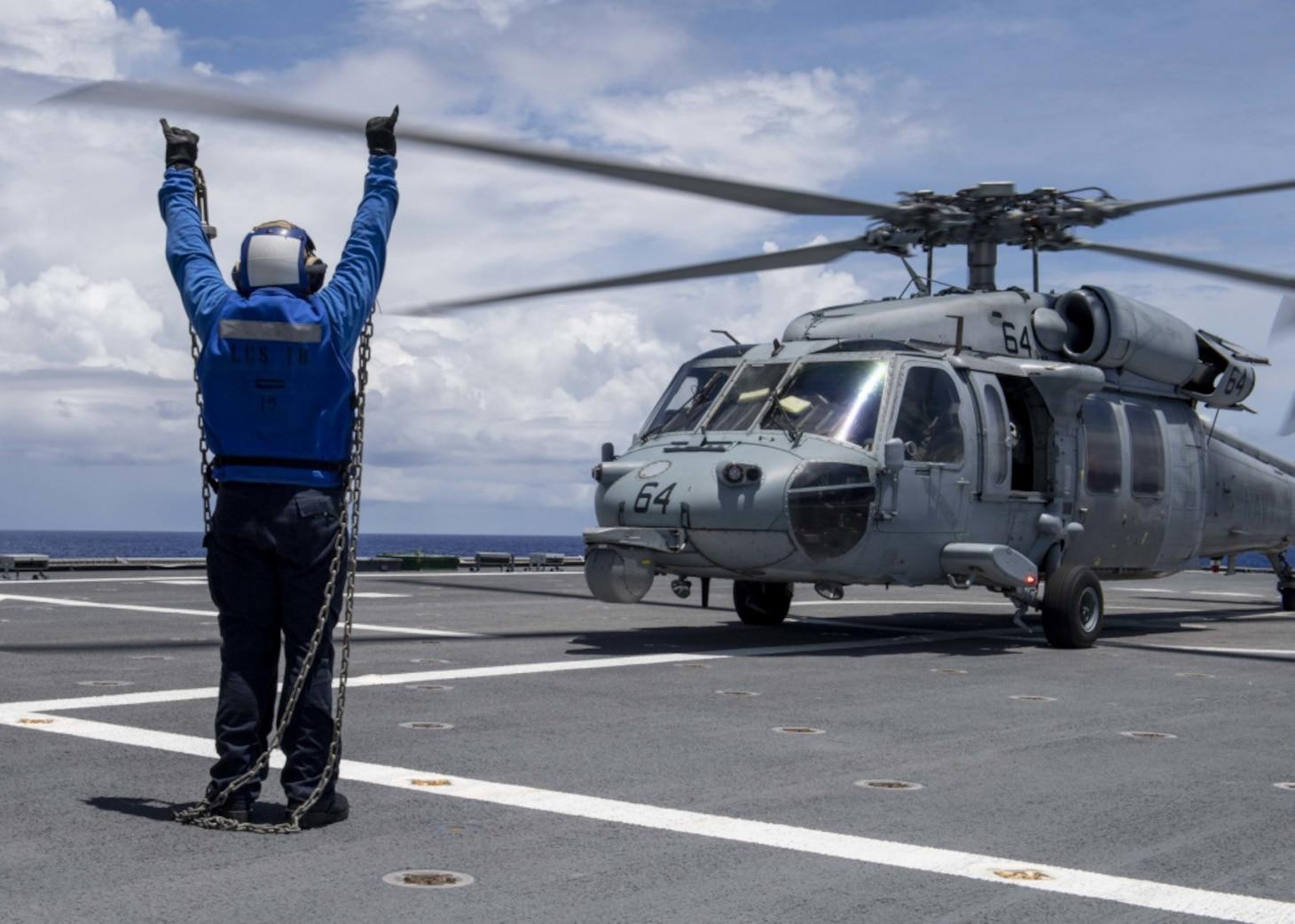 Flight Operations on USS Charleston (LCS 18)