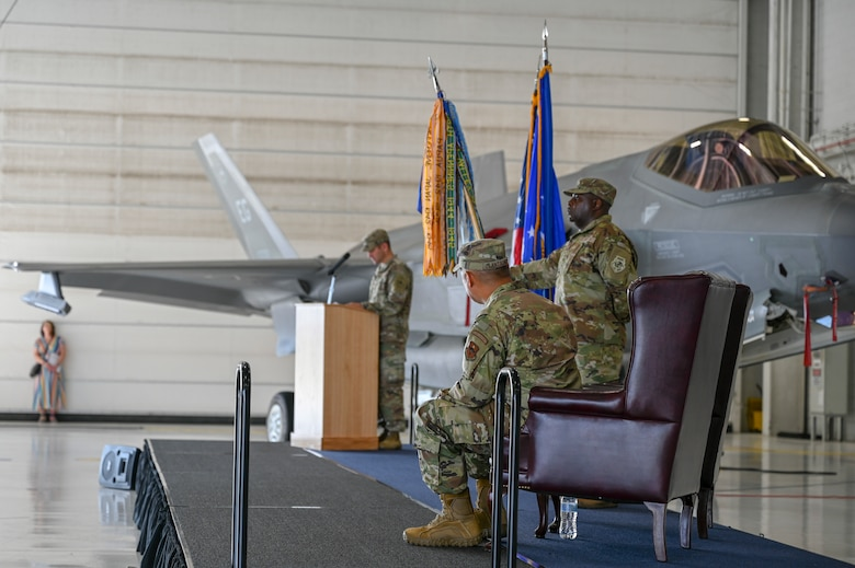 Colonel gives speech during assumption of command.