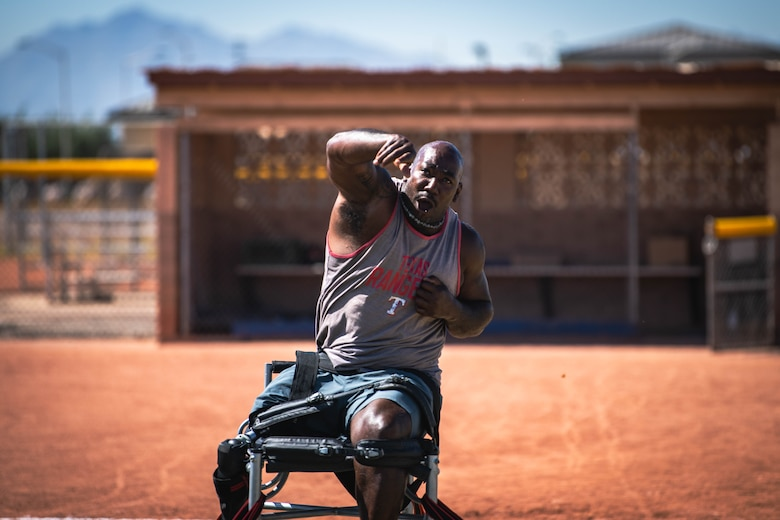 Retired U.S. Army Sgt. Anthony Pome throws a shot put May 27, 2021, at Luke Air Force Base, Arizona.