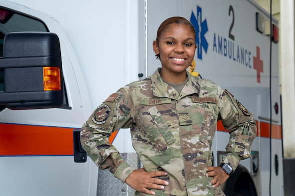 U.S. Air Force Airman 1st Class Alexandria Smith, 81st Healthcare Operations Squadron medical technician, poses for a photo at the Keesler Medical Center on Keesler Air Force Base, Mississippi, June 9, 2021. Smith aims to become a registered nurse, like her mother and grandmother, by commissioning to become an officer. (U.S. Air Force photo by Senior Airman Kimberly L. Mueller)