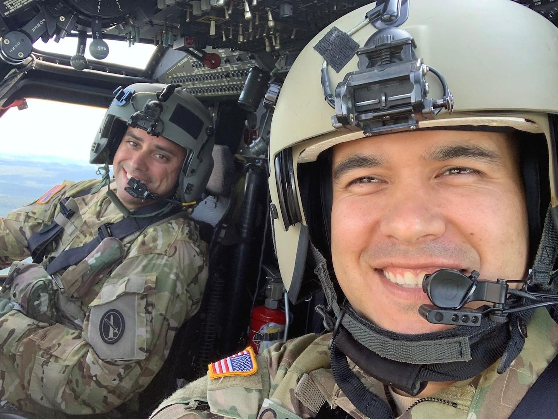 U.S. Army Chief Warrant Officer 3 Mauricio Garcia, right, pilots a 12th Aviation Battalion UH-60M Black Hawk, with his co-pilot, Chief Warrant Officer 3 Kevin Wikstrom. (Courtesy photo)