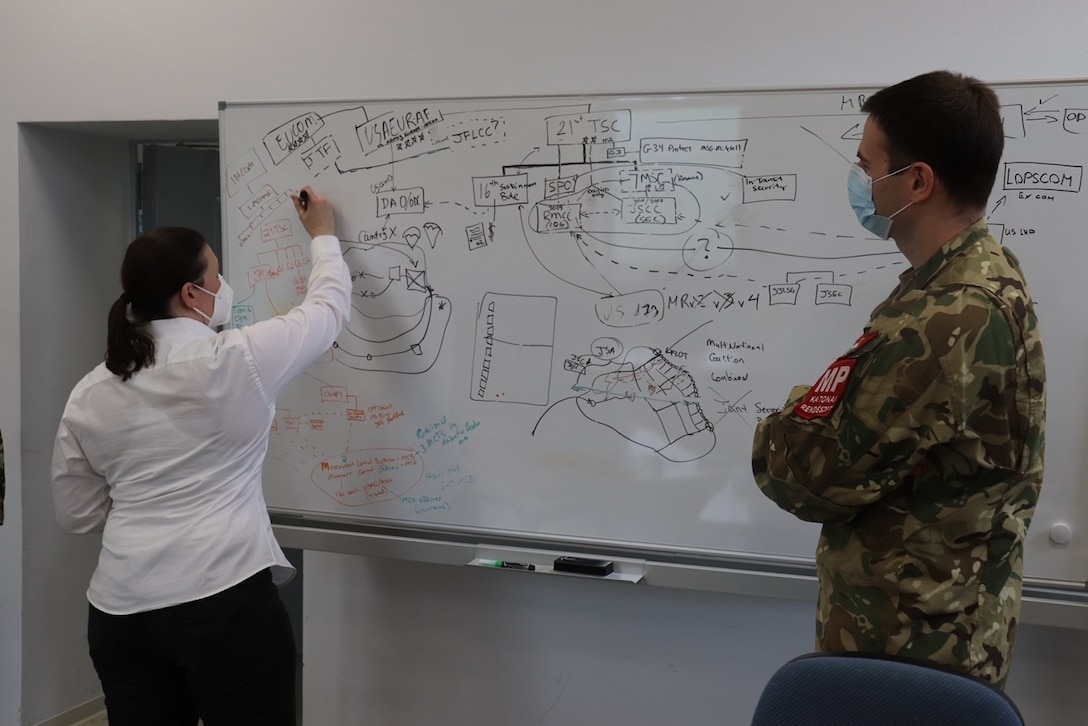 Joint Security Coordination Center Chief of Protection Patricia Giera, 7th Mission Support Command, explains the JSCC structure to Hungarian military police officer Capt. Zoltan Szentpeteri on Panzer Kaserne in Kaiserslautern, Germany, May 27, 2021. U.S. Army Reserve Soldiers and Civilians assigned to the 7th MSC teamed up with NATO Allies and partners from 18 different countries to provide a unique protection capability for U.S. Army Europe and Africa by serving as the JSCC in support of DEFENDER Europe 21. (U.S. Army Reserve Photo by Capt. Lorenzo Llorente)