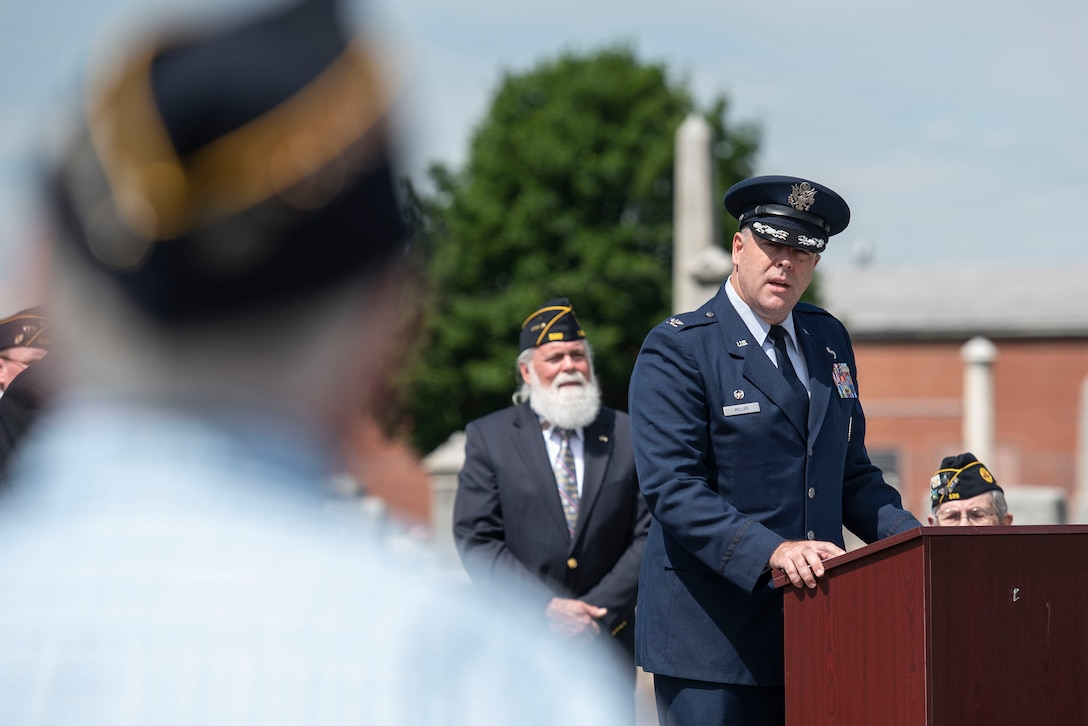 U.S. Air Force Col. Patrick Miller, 88th Air Base Wing and Wright-Patterson Air Force Base, Ohio, installation commander, delivers remarks as the keynote speaker during a Memorial Day ceremony in Fairborn, Ohio, May 31, 2021. Established in 1971, Memorial Day is an official federal holiday meant to allow people to honor the men and women who have died while on duty with the U.S. Military. (U.S. Air Force photo by Wesley Farnsworth)