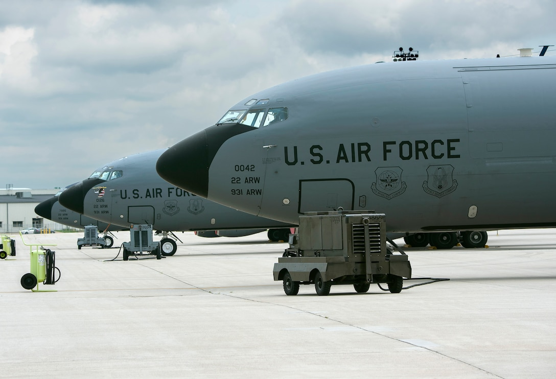 KC-135 Stratotankers from the 22nd Air Refueling Wing at McConnell Air Force Base, Kansas, sit on the flightline, June 8, 2021 at Wright-Patterson AFB. KC-135 and KC-46 tankers and crew members will be at Wright-Patt through June 18 for a deployment exercise, which includes night-time aerial-refueling training. (U.S. Air Force photo by R.J. Oriez)