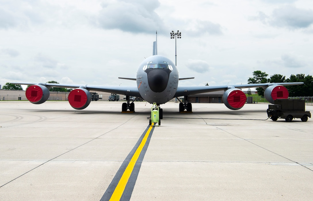 A KC-135 Stratotanker from the 22nd Air Refueling Wing at McConnell Air Force Base, Kansas, sits on the flightline, June 8, 2021 at Wright-Patterson AFB. KC-135 and KC-46 tankers and crew members will be at Wright-Patt through June 18 for a deployment exercise, which includes night-time aerial-refueling training. (U.S. Air Force photo by R.J. Oriez)