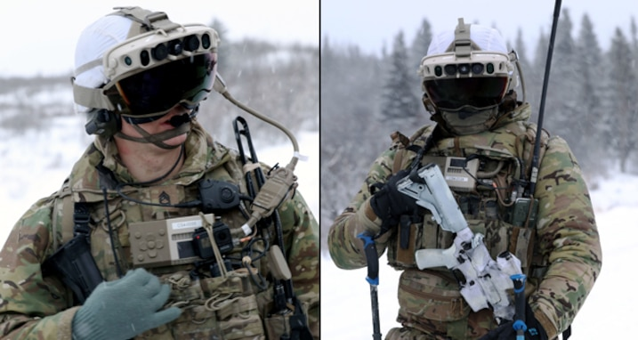 Soldiers from 4th Brigade Combat Team, 25th Infantry Division test IVAS Capability Set 4 in extreme temperatures at the Cold Region Test Center, Alaska in March 2021.