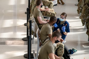 U.S. Air Force BMT Trainees receive vaccine