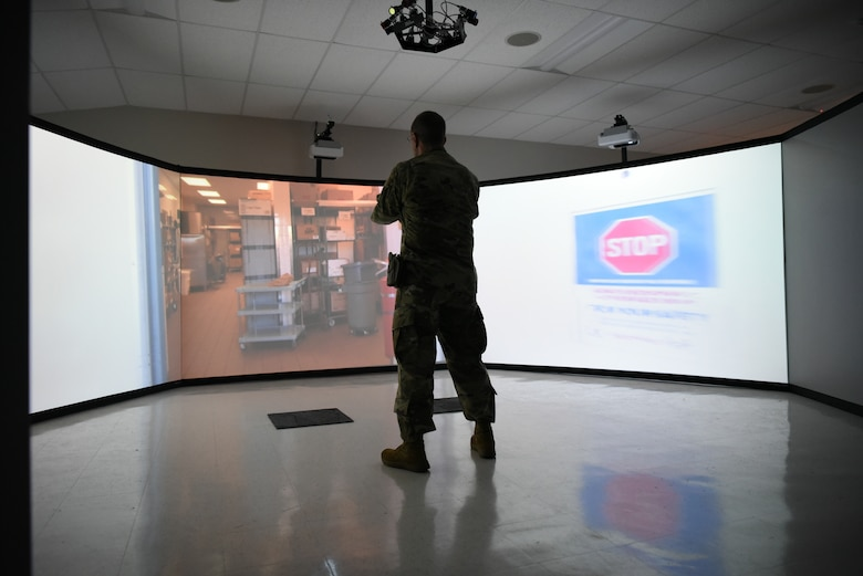 Chief Cadell in video simulator.