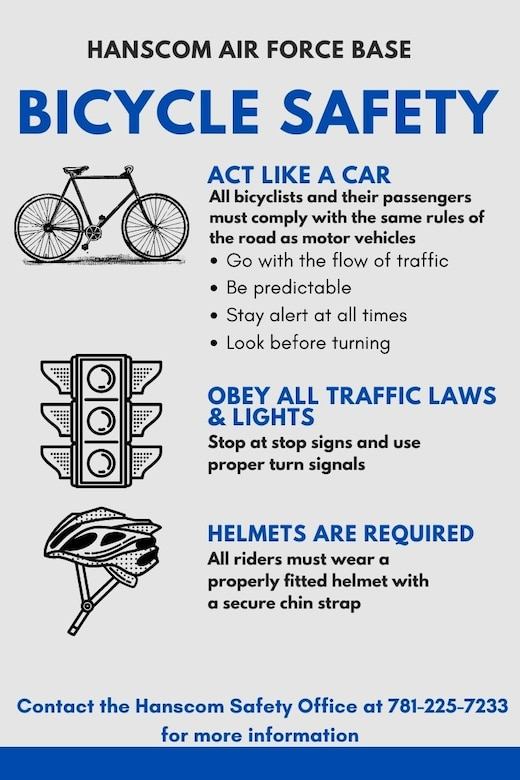 All bicyclists at Hanscom Air Force Base, Mass., must comply with all guidance and regulations for vehicle operations as well adhere to all posted road signs. (U.S. Air Force graphic by Lauren Russell)