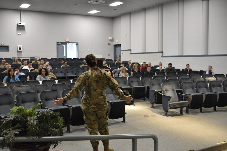 U.S. Air Force officers and senior enlisted personnel gather inside a conference center for a Flight Commander's Course at Westover Air Reserve Base in Chicopee, M.A., June 7-9, 2021. (U.S. Air Force photo by SrA Stephen Underwood)