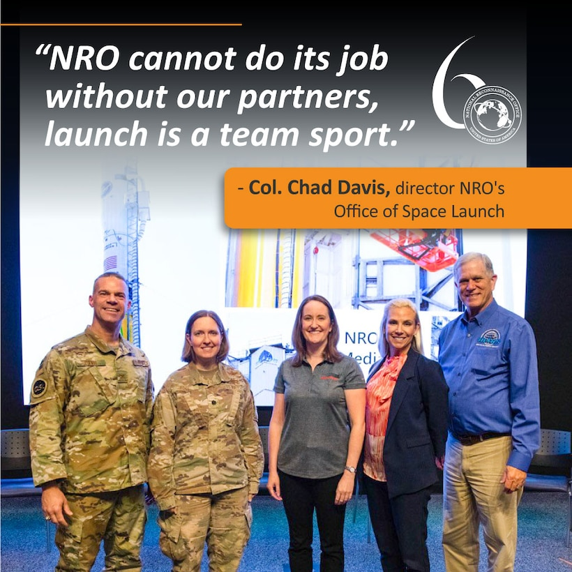 L-R: Col. Chad Davis, director of NRO's Office of Space Launch; Lt. Col. Ryan Rose, Chief Small Launch and Targets Division for U.S. Space Force, Space and Missile Systems Center's Launch Enterprise; Kelly Fitzpatrick, Senior Guidance, Navigation and Control Engineer on the Minotaur program at Northrop Grumman; Shannon Fitzpatrick, Chief of the Range and Mission Operations at NASA Wallops; and Dale Nash, CEO and Executive Director of Virginia Space.
