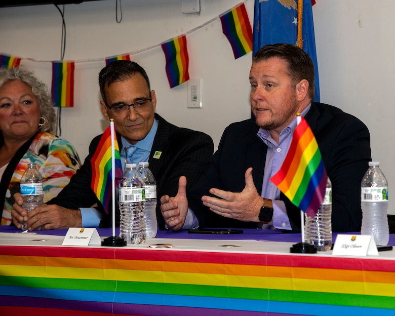 Nathan Bruemmer, Board President and Executive of St. Pete Pride, speaks at an LGBTQ+ Pride Month luncheon at MacDill Air Force Base, Florida, June 10, 2021.