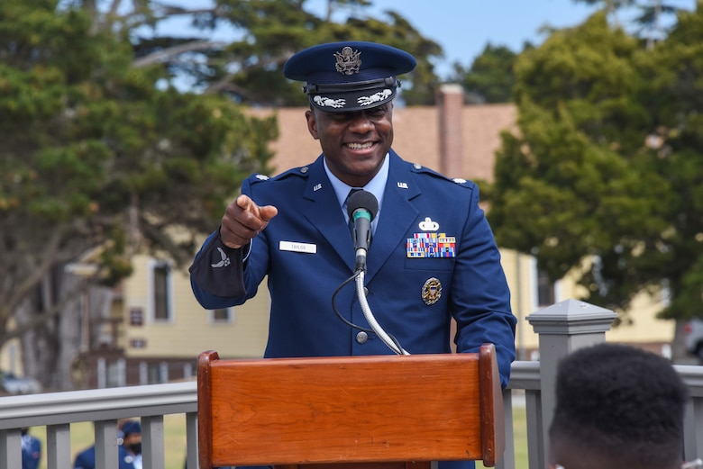 U.S. Air Force Lt. Col. William Taylor, incoming commander of the 311th Training Squadron at the Presidio of Monterey, speaks during the change of command ceremony at Soldier Field, Presidio of Monterey, California, June 4, 2021. The 311th Training Squadron develops world class language enabled warrior Airmen. (Photo courtesy of Natela Cutter)